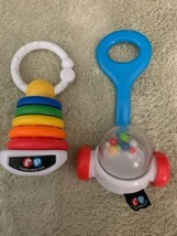 2 Fisher Price Baby Car Seat Toys Ring Stacker Mini Push Popper  - $6.43