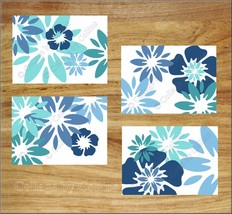 Blue Aqua Turquoise Wall Art Picture Prints Decor Floral Tropical Bloom ... - $13.98