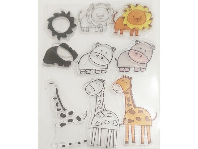 Layered Animals Stamp Set, Includes Lion, Hippo, and Giraffe