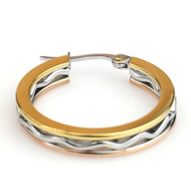 Edgy Tri-Color Silver, Gold & Rose Tone Hoop Earrings- United Elegance image 4