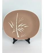 Vintage MCM Harkerware Oval Serving Plate Platter Cameoware Pink Bamboo USA - $29.69