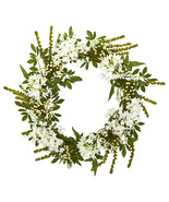 "24"" White Mixed Floral Artificial Wreath, Nearly Natural 4318 - $69.00"