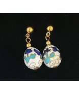 VINTAGE CLOISONNE EASTER EGG EARRINGS AVON WHITE CLOISONNE - $22.00