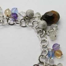 Silver Bracelet 925 Rhodium with Tiger's Eye and Quartz Multicolour image 2