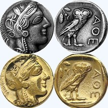 2 Finishes for Athena and Her Owl Coin, Greek Goddess of Wisdom, (#77-S ... - $28.52