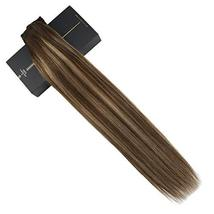 Ugeat 18inch One Piece Hair Extensions Clip in Real Human Hair #4/27/4 Balayage  image 5