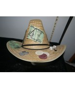 Novelty Straw Cowboy Hat w/Gambling Casino Attachments--Dice, Cards, Etc... - $16.04