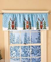 Reindeer Window Valance Winter Christmas Sesonal Decor Snow - $12.35