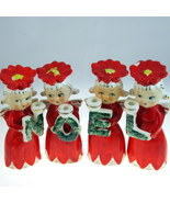 Commodore 3053 Poinsettia Noel angel candle holder set Christmas holiday... - $40.89