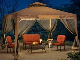 Steel Gazebo Instant Canopy Party Tent Vented Wedding Netting Screen Eas... - $178.17