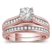 14k Rose Gold Finish 925 Sterling Real Silver Womens Lab Diamond Bridal Ring Set - $92.99