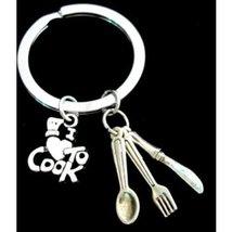 Chef Gift Cooking keychain, Chef Keychain I love to Cook Keychain, Cooki... - $9.60