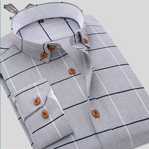 Men Shirt Casual Long Sleeve Plaid Formal Brand Clothing Business Shirts Chemise - $45.70