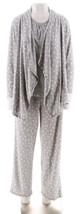 Carole Hochman Floral Paisley 3-Pc Lounge Set Heather Grey L NEW A294061 - $31.66