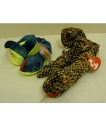TY Beanie Babies Two (2) Reptile Beanies: Snake and Hissy - $15.98