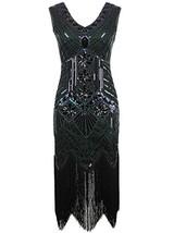 Vijiv Women 1920s Gastby Sequin Art Nouveau Embellished Fringed Flapper ... - $51.32