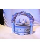 VINTAGE SCHMID CERAMIC SWAN LAKE MUSIC BOX W/ 3 SWIRLING BALLERINAS NEED... - $19.99