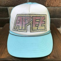 a bathing ape Bape Ladies APEE KISS LOGO Swarovski Cap Light Blue Rare Used - $412.99
