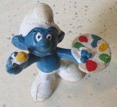 Vintage SMURFS Smurf Artist Painter mini PVC Figure toy - $5.99