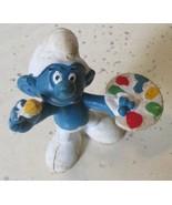 Vintage SMURFS Smurf Artist Painter mini PVC Figure toy - $5.99