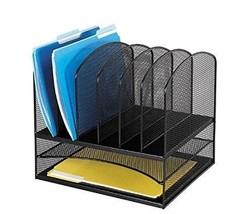 Safco Products Onyx Mesh 2 Tray/6 Sorter Desktop Organizer 3255BL, Black... - $40.14