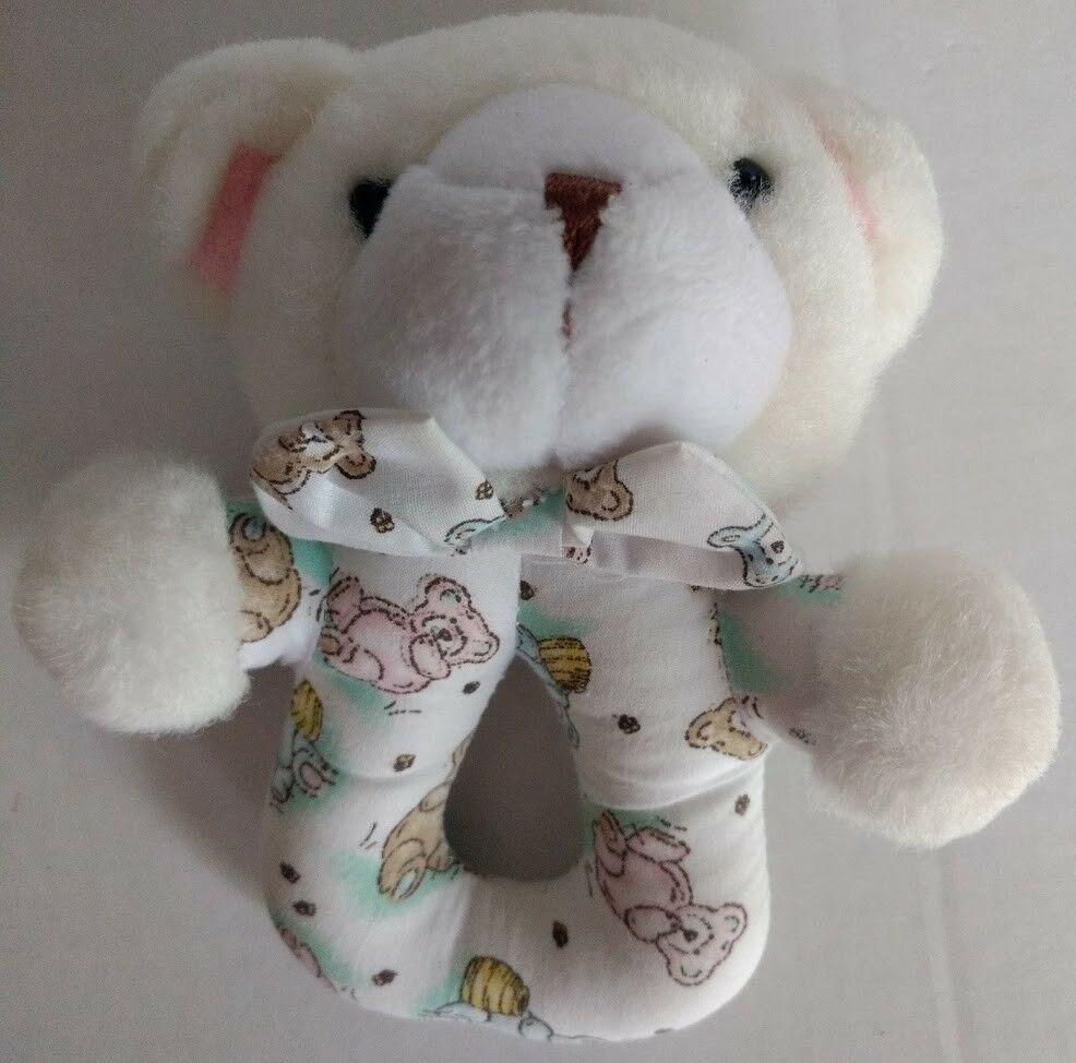 5f49e320c Carters Classics Teddy Bear Baby Rattle Lovey White Blue Pink Honey Pot Bee  Rare - $44.09