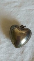 """1""""VINTAGE RUSTIC PUFF HEART PENDANT,SILVERTONE METAL,HOLLOW,.5""""THICK,AGE... - $4.94"""