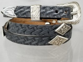 Basketweave HATBAND w SILVER Diamond Dogwood CONCHOS and Buckle Cowboy H... - $23.16
