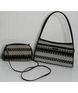 Kate Spade 2 Purse Set Black Gray Stripe Handbag - $59.99
