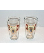 COORS FINE BANQUET BEER 14 oz CLEAR BEER GLASSES LOT OF 2 GUC  - $24.99