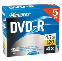 Memorex 4.7GB DVD-R Media (5-Pack with Jewel Cases) 3202-5585 - $12.20