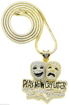 Play Now Cry Later New Iced Out Pendant Necklace With 36 Inch Chain - $34.99
