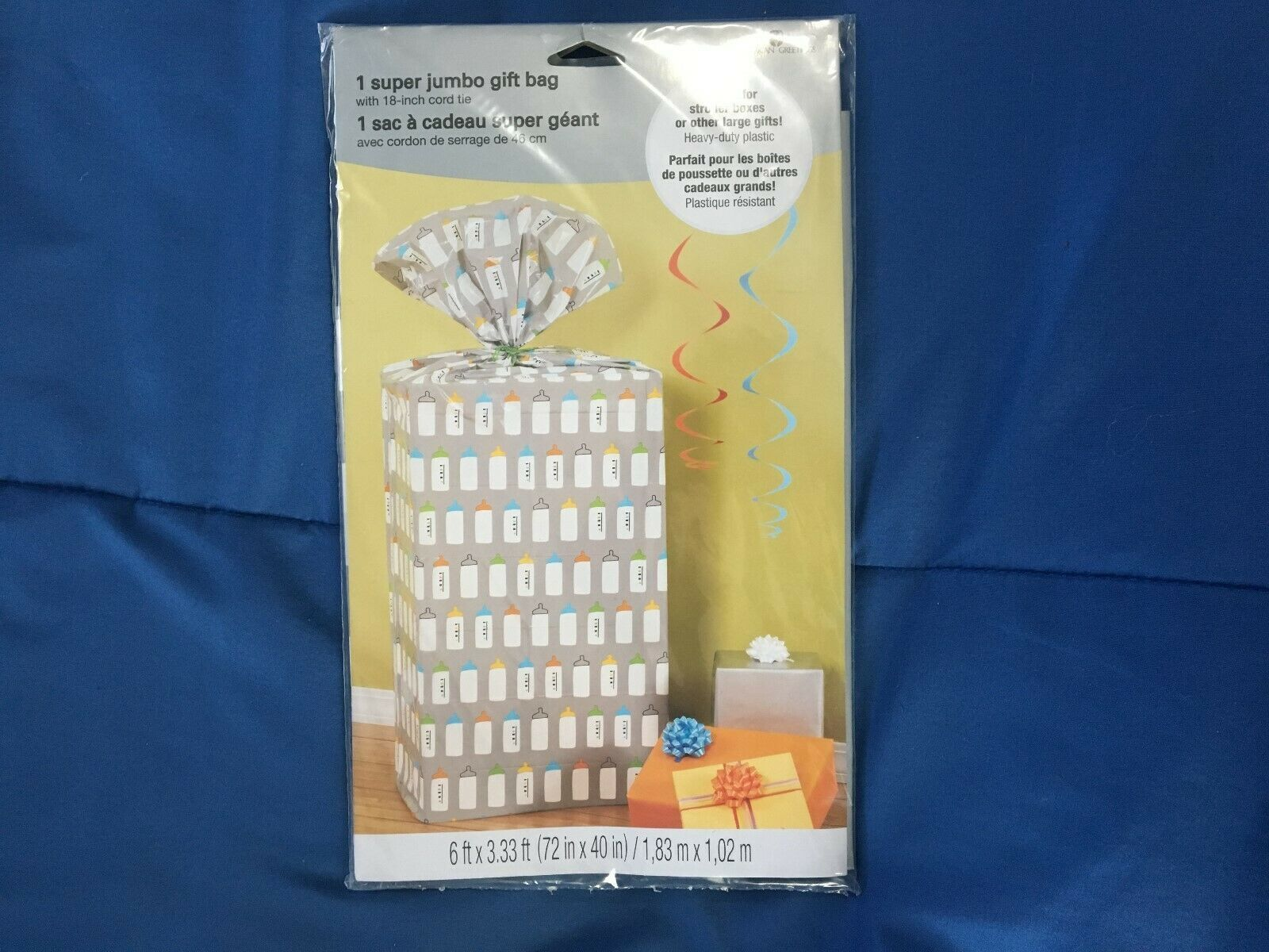 "1 American Greetings Jumbo Gift Bag (Baby Bottles Pattern) 40"" X 72"" *NEW* z1 - $7.99"