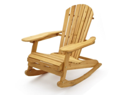 Garden Rocking Chair Traditional Armchair Wooden Adirondack Relaxing Pat... - $158.29