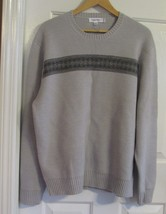 CALVIN KLEIN MENS SWEATER 100%MERINO WOOL GRAY XL SOLID CREWNECK FULL SL... - $94.80