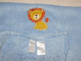 Baby Starters Boy Plush Fleece Light Blue Blanket Yellow Orange Embroidered Lion - $44.54