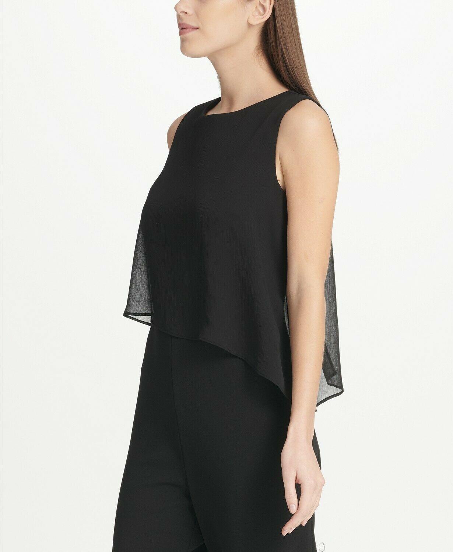 DKNY Chiffon Overlay Jumpsuit Black Size 8 $129 image 3