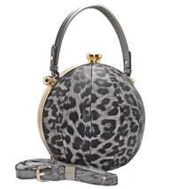 Handbag Republic Leopard Print 2-Compartment Round Satchel w/ Strap- Bla... - $55.50