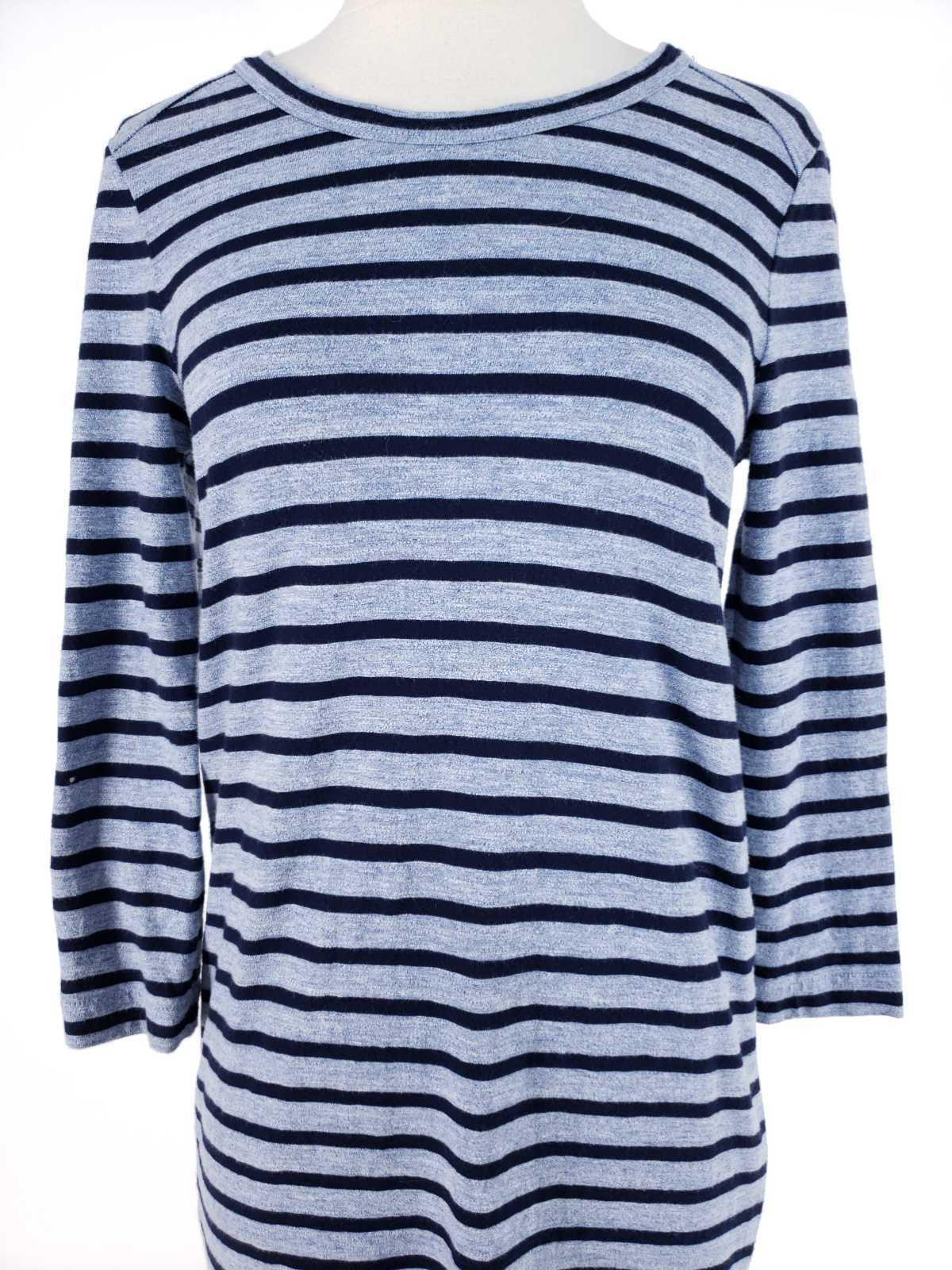 J.Crew Women XS Dress Striped Side Zip Tshirt Cotton Long Sleeve Casual image 2