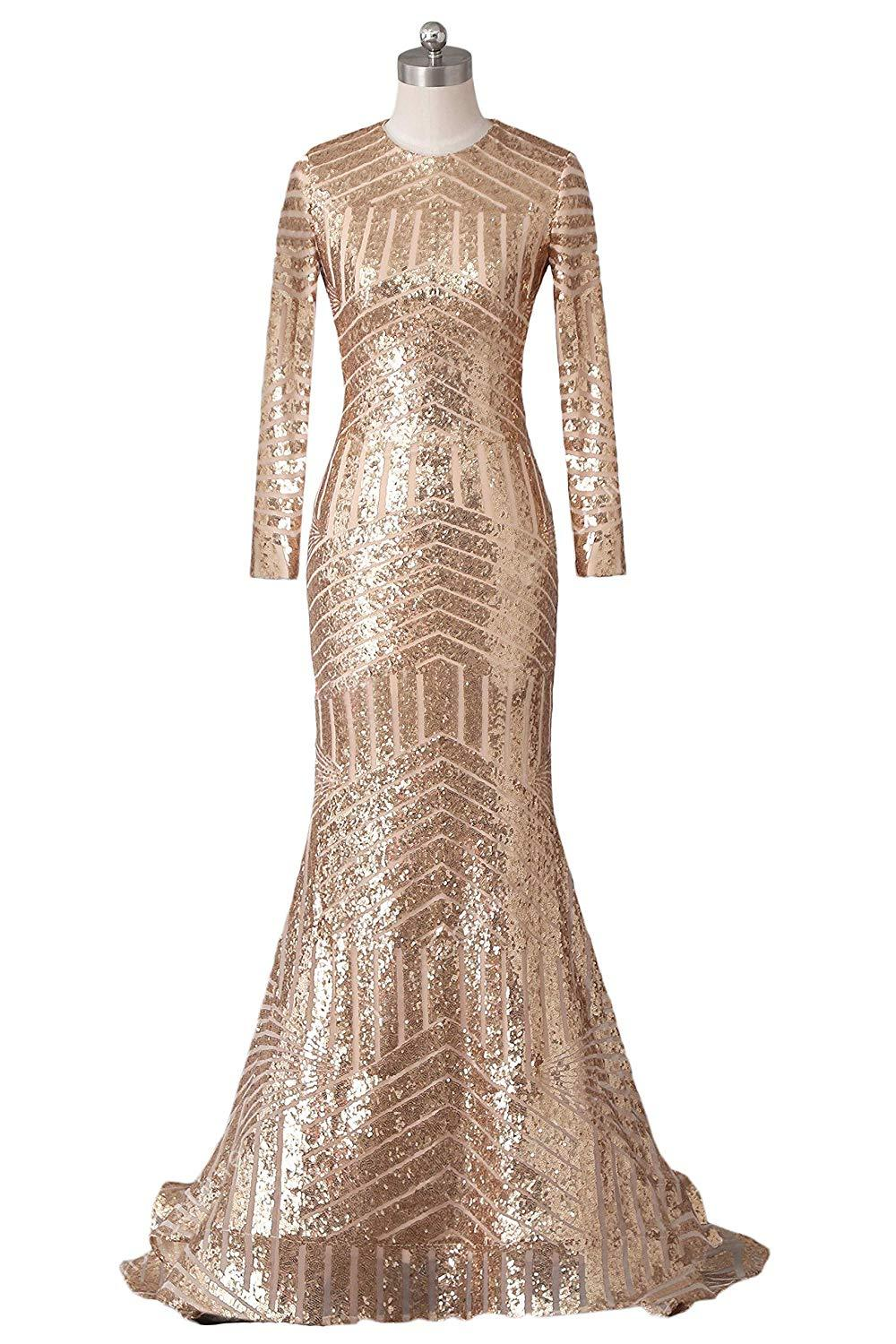 2019 Mermaid Long Sequins Formal Evening Dress Long Sleeves High Neck Prom Dress