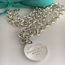 "22"" Please Return to Tiffany & Co Sterling Silver Mens Unisex Round Tag Necklace - $385.00"