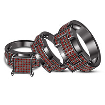 14k Black Gold Finish 925 Sterling Silver Red Garnet His & Her Wedding T... - $164.99