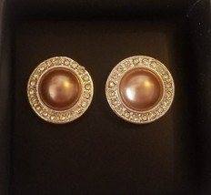 AVON Autumn Romance Chocolate Pearly EARRINGS Pierced Faux-Pearl Studs ~... - $9.89
