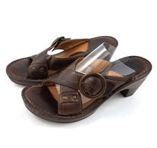 Heel Buckle Shoes Leather Toe Born 39 8 High Open Sandals Brown Womens q1f0wtUxtZ