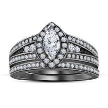 White Sim Diamond 14k Black GP Awesome Wedding & Engagement Bridal Ring Set - $119.25