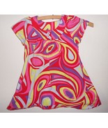Hanna Andersson Toddler Girl Dress 90 3T Red Pink Yellow Swirl Summer Sp... - $14.83