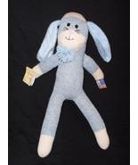 Ozark Mountain Kids Sock Monkey Bunny Rabbit Blue Plush Stuffed Animal Tags - $19.78