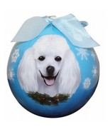 Poodle White Christmas Ornament Dog Shatter Proof Ball Snowflakes Blue W... - $9.89