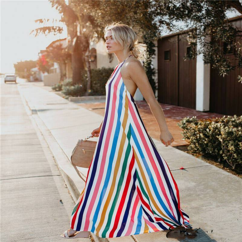 N summer cocktail boho long dress striped summer hot fashion female party beach dresses sundress