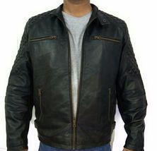 Men Quilted Green Bomber  Leather Jacket Coat For Men - $150.00